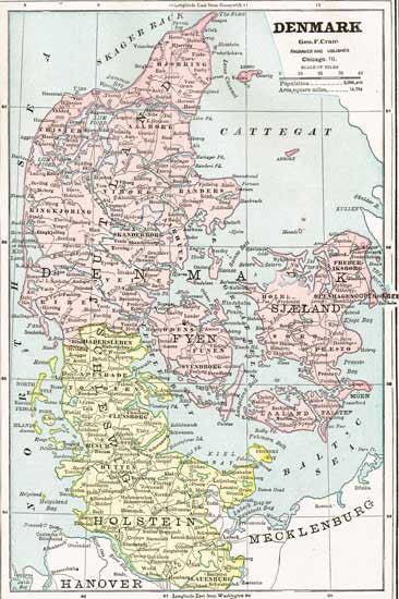 1888 Map of Denmark