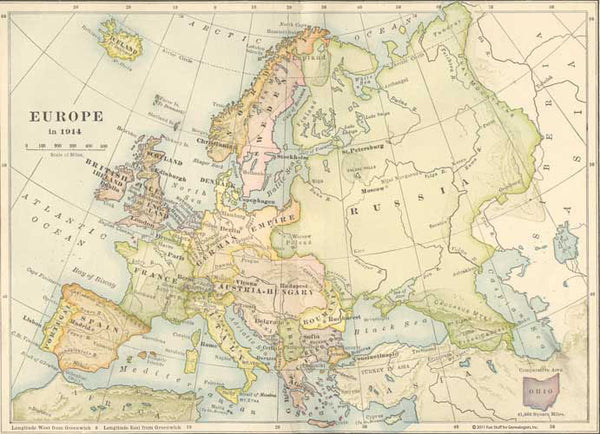 1914 Map of Europe