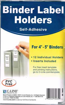 "Binder Label Holders 4"" - 5"""