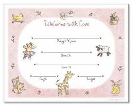 girl birth certificate template - Baby Birth Certificate Template