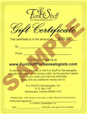 "Genealogy ""Fun Stuff"" Gift Certificate"