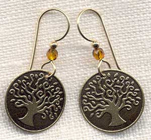 Round Brass Family Tree Earring with amber bead