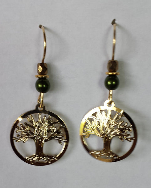 "Golden Sparkling Tree of Life Earrings  1"" tall"