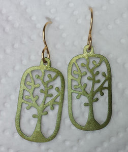 Antique Brass Rectangular Tree Cut Out Earrings - SALE!
