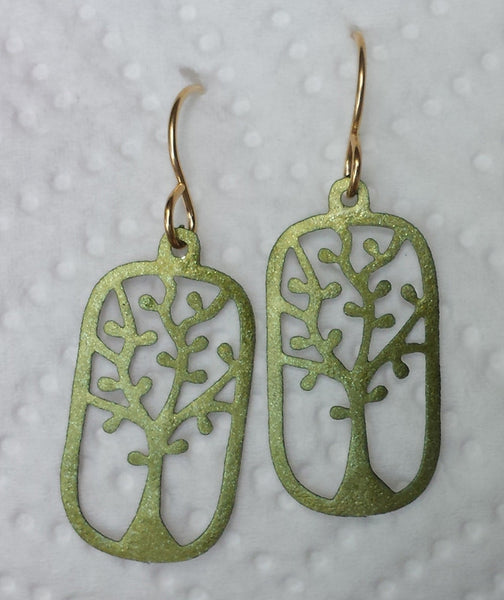 Antique Brass Rectangular Tree Cut Out Earrings
