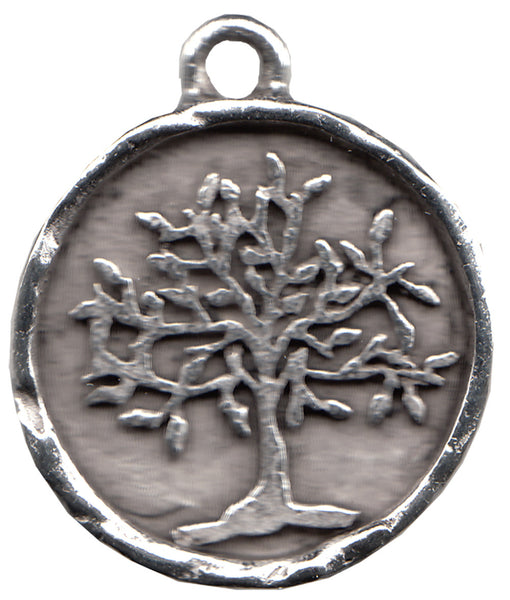 "Antique Silver-Plated Pewter Tree of Life   3/4"" diameter   je-423"
