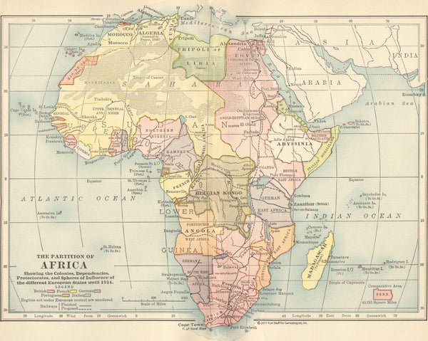 1914 Map of Africa