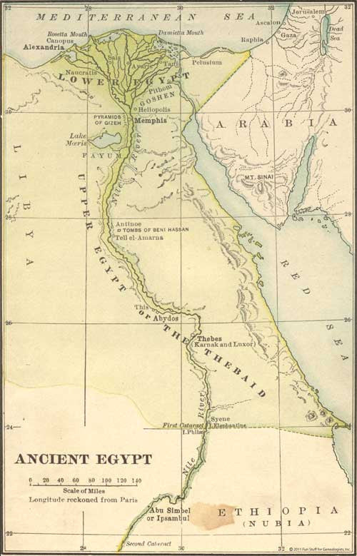 Map Of Ancient Egypt Fun Stuff For Genealogists Inc
