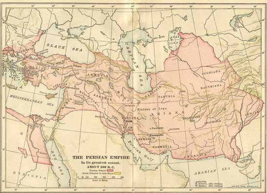 500 BC Map of the Persian Empire