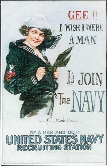"Poster ""Gee, I wish I were a man"" Navy"