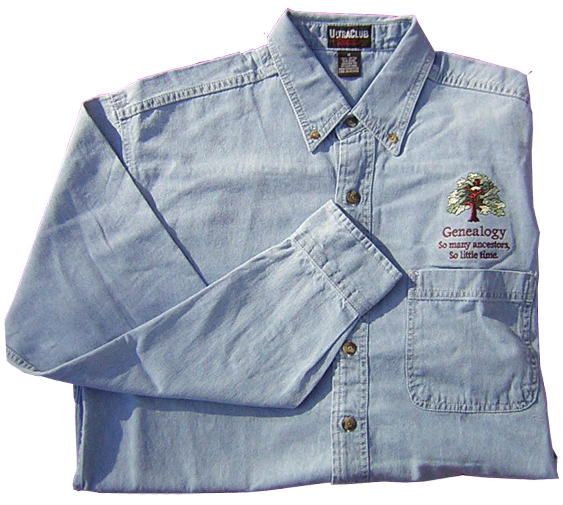 Embroidered Blue Jean Shirt