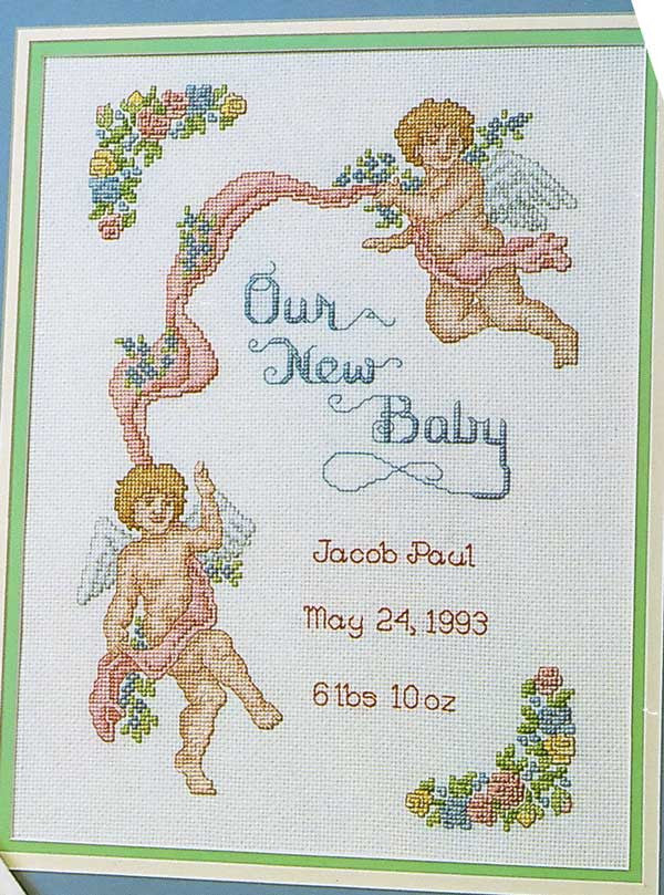 Cherub Baby Sampler Counted Cross Stitch Pattern