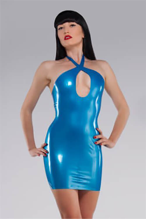 Crossover Blue Latex Dress