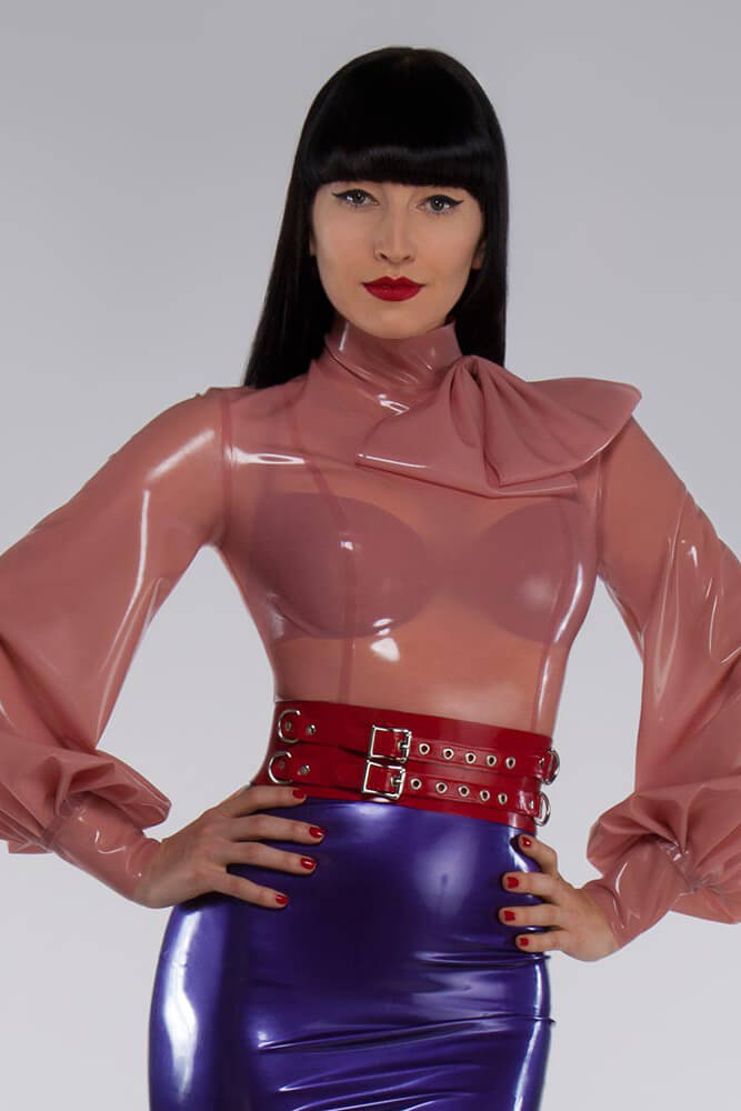 Semitransparent Pink Latex Blouse