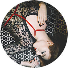 Kat Taylor wears the Joelle Red Harness