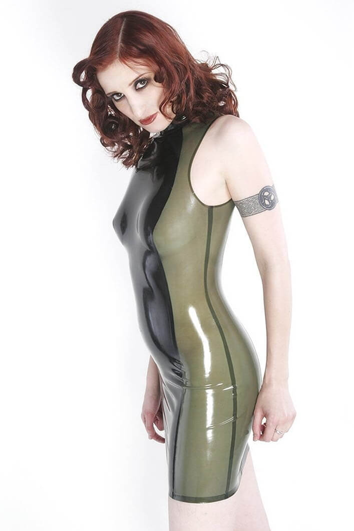 Penumbra Semitransparent Green Latex Dress