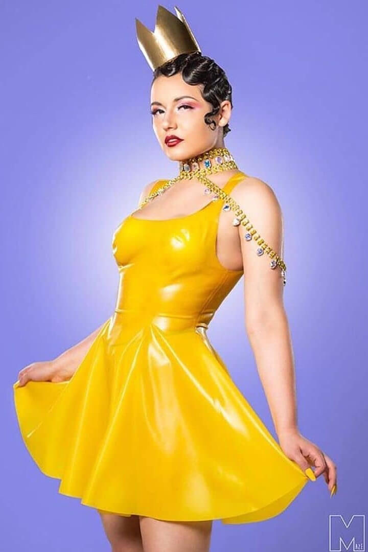 Yellow Latex Swing Dress