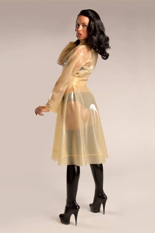 Semitransparent Yellow Latex Trench Coat