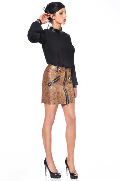 Ann Vegan Leather Snakeskin Skirt
