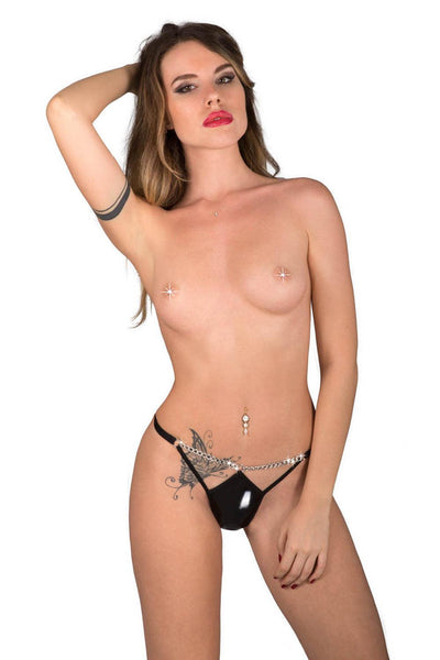 Eros Glossy Black Thong w/ Chains