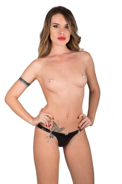 Eros Detachable Glossy Black Thong
