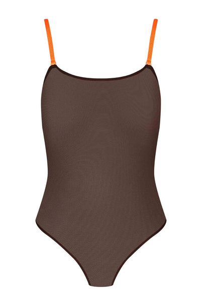 Corps à Corps Thong Bodysuit • Brown Neon Orange