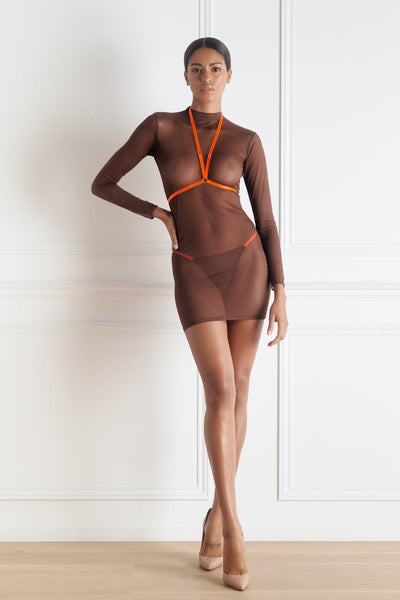 Corps à Corps Dress Set • Brown Neon Orange