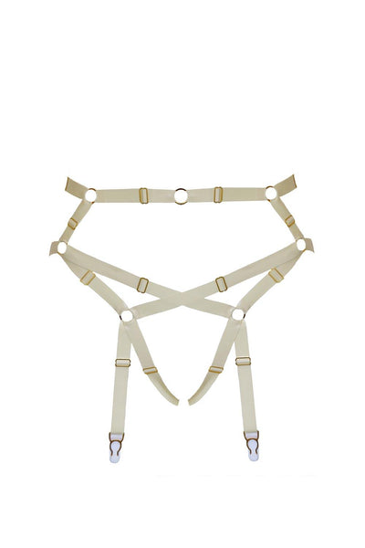 Baubo White Latex Suspender Briefs
