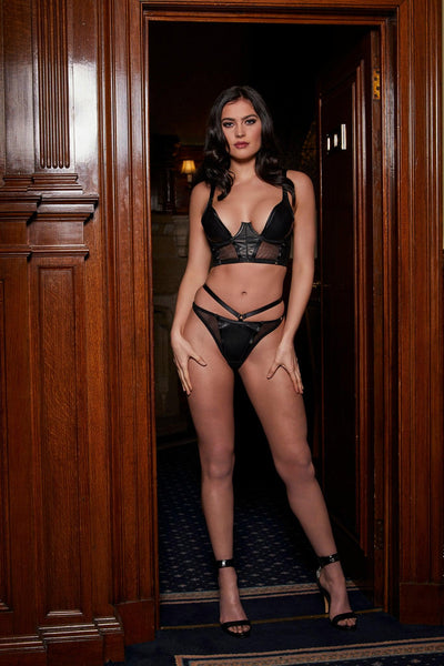 Mia Longline Leather Lingerie Set
