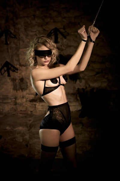 Annabel Leather and Lace Blindfold - Darkest Fox