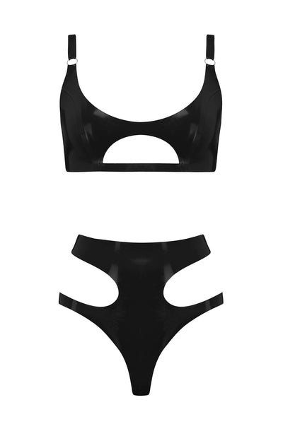Cut Out Latex Lingerie Set