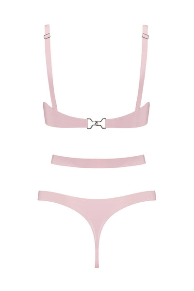 Baby Pink Cut Out Latex Lingerie Set