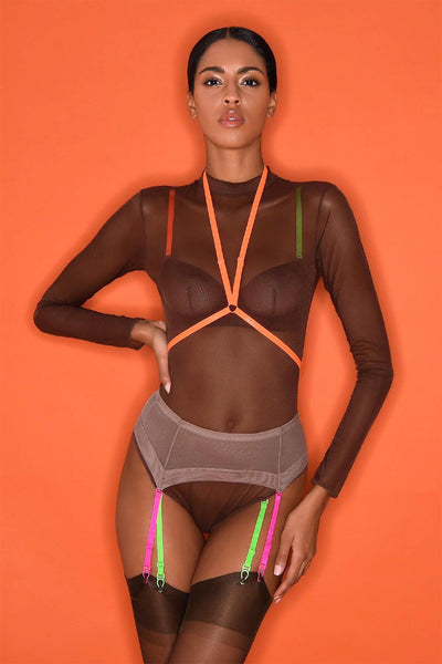 Corps à Corps Long Sleeve Thong Bodysuit • Brown Neon Orange
