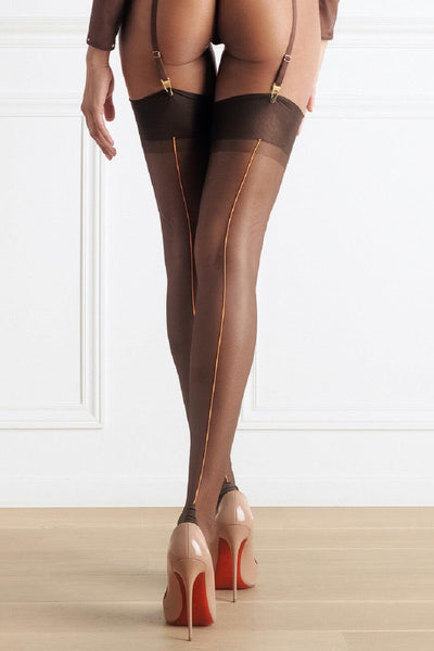 Chocolate Orange Back Seamed Stockings