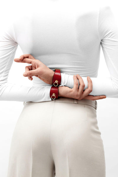 Red Leather Linotte Cuff Bracelets
