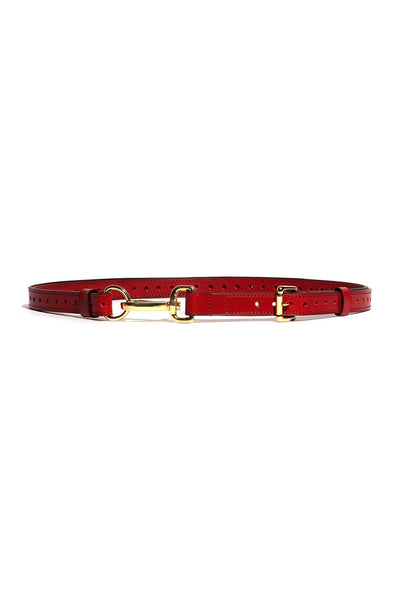 Red Pinson Bondage Leash Leather Belt