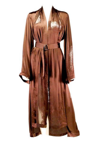 Brown Burnout Silk Robe