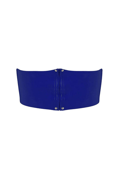 Royalblue Navy Latex Bandeau Crop Top