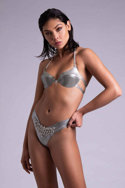 Gamma Tau Silver Latex Lingerie Set
