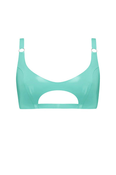 Jade Green Cut Out Latex Bralette