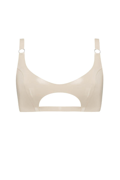 White Ivory Cut Out Latex Bralette