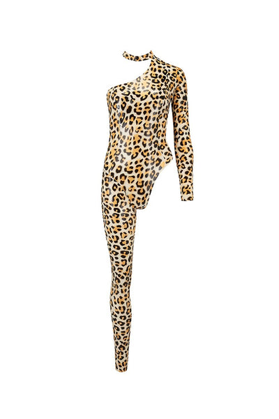 Upsilon Leopard Latex Catsuit