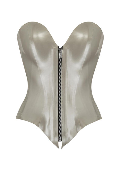Zeta Zip Silver Latex Corset