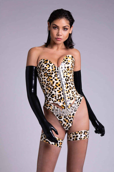 Zeta Zip Leopard Latex Corset