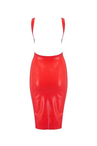 Scarlet Red Latex Midi Dress