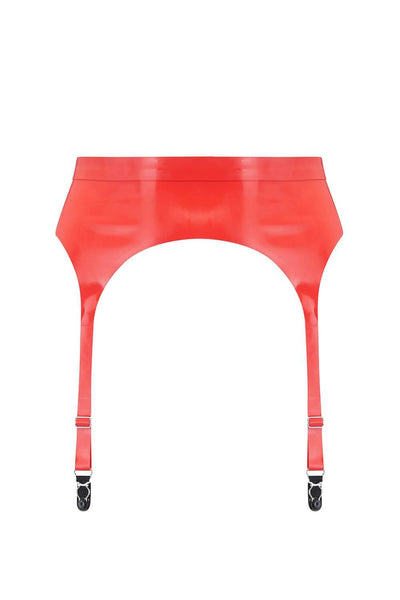 Scarlet Red Latex Garter Belt