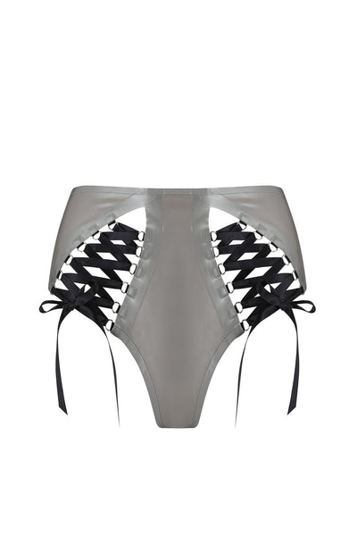 Lambda Silver Latex Laced Knicker