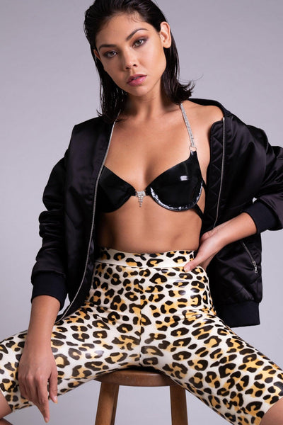 Beta Leopard Latex Biker Short