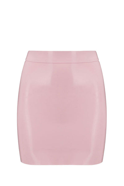 Baby Pink Latex Mini Skirt