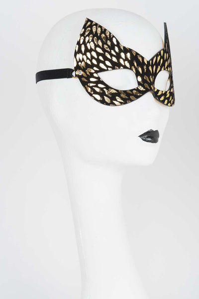 Gold Foil Molded Leather Cat Mask